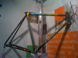 Dario Pegoretti's modern art frames were on display at the Gita booth.
