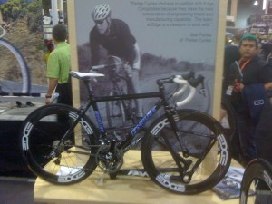 Edge Sports displayed bikes by a number of small builders, such as this Parlee.