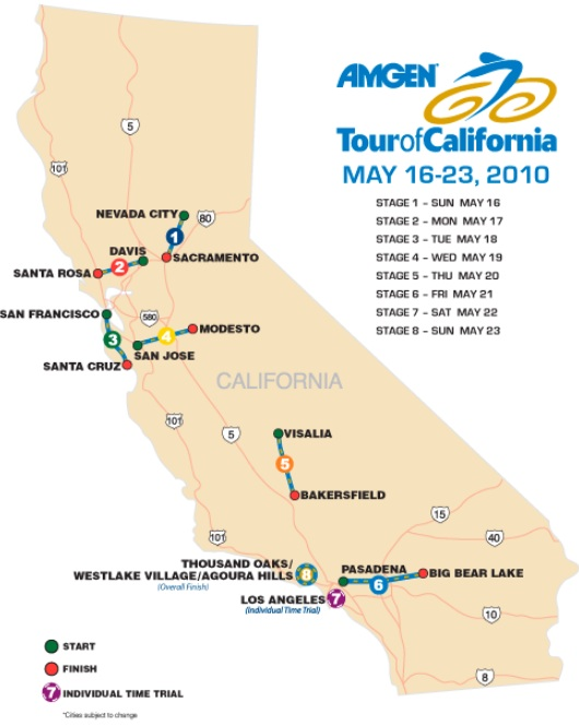 tour de france map 2010. 2010 Tour of California Route