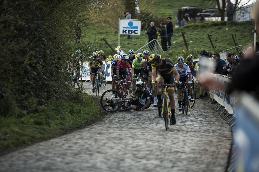 Paris-Roubaix crash cobbles
